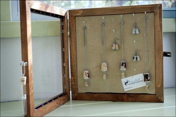 Hanging Jewelry Box Cabinet from OLD RETRO CEDAR RECORD FRAMES With Glass UNCORKED