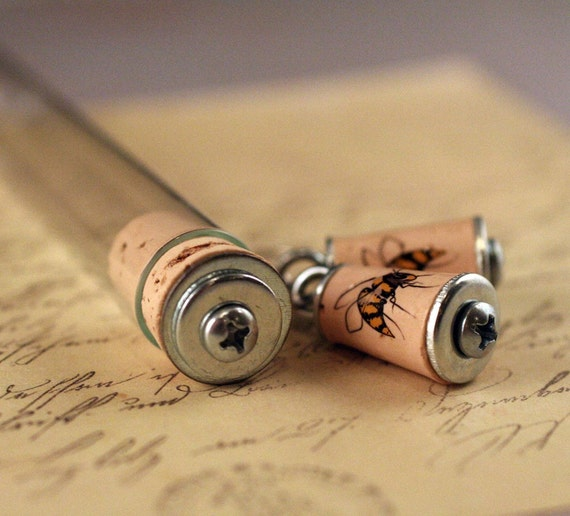 Bee Earrings - Sustainable Cork in Test Tube, Wire Earrings, Dangle, Bumble Bee, Honeybee, Eco Friendly, No GMO, Recycled, nature - Uncorked