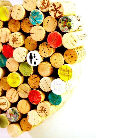 Love Cork Board - Wine CorkBoard, Wedding Message Center, Organizer, Recycled Wine Corks, Custom, Bride Gift, Engagement - Uncorked