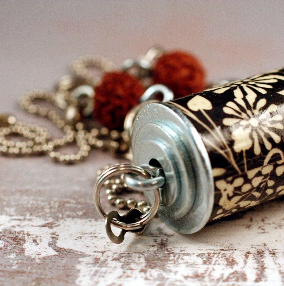 Cork Jewelry: Black And White Wine Cork Jewelry Upcycled Necklace By