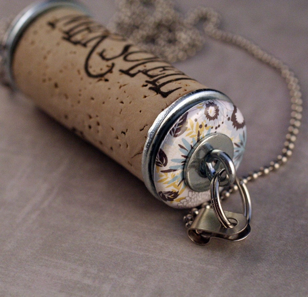 Cork Jewelry: FLOWER Power Upcycled WINE CORK Necklace By Uncorked By