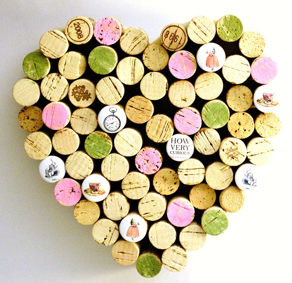 Heart shaped cork board alice in wonderland decor wine cork for Heart shaped bulletin board