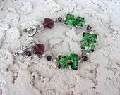 Frogs  sterling silver bracelet purple green  7115