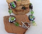 Mint Green purple bracelet lots of sterling silver glass heart beads