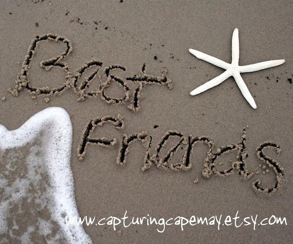 Best Friends Written in Sand.  Fine Art Photograph.  8x10.