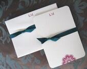 RESERVED 5 SETS of 10 custom monogrammed notecards and envelopes