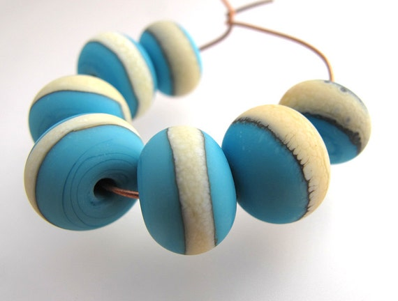 lampwork beads turquoise and ivory