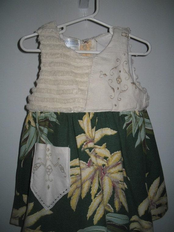 Vintage Barkcloth and Chenille Toddler Dress/ Jumper ON SALE 30% OFF