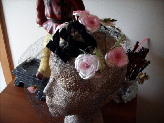 RESERVED. Vintage 1950s Black Birdcage Veil HAT accented with Pink Flowers and Black Bows