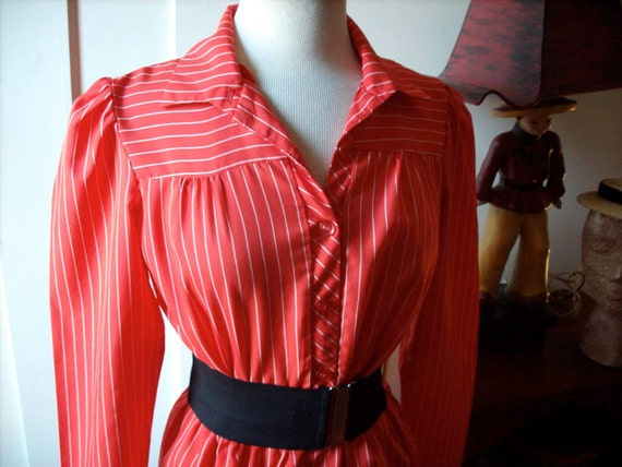 Vintage 1940s style Striped DRESS Red and White