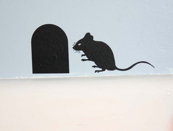 Mouse and Mouse hole vinyl Wall Sticker Decal