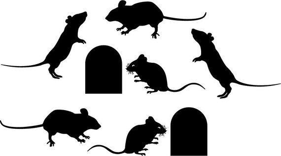 Mouse decal Set 6 mice and 2 holes
