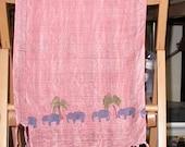 Linoleum print Elephant Scarf