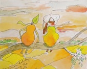 Pears as Tourists  Drawing Reproduction