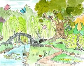 A Dragon Sleeps in the Enchanted Forest Drawing