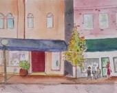 Street Scene in Watercolor