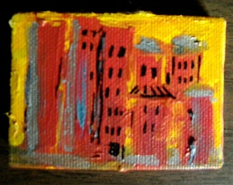Urban Sunset Miniature Painting on Easel