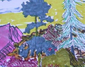 Wild Colors Landscape Marker Drawing Fauve  Inspired