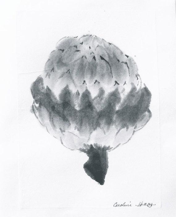 Artichoke Original Ink Painting