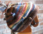 Funky Chunky Slouchy Striped Hand Knit Hat