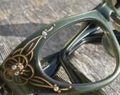 Vintage Green Metallic Flower Cats Eye Glasses Frame France Rhinestones Stars 1950 Eye Wear