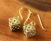Tiny Gift Earrings - Vintage Brass