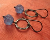 Vintage - Cornflower Rose Earrings - Lucite and Sterling Silver