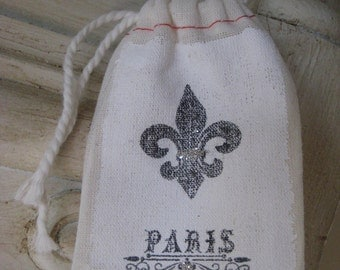 Muslin bag french style fleur de lis paris