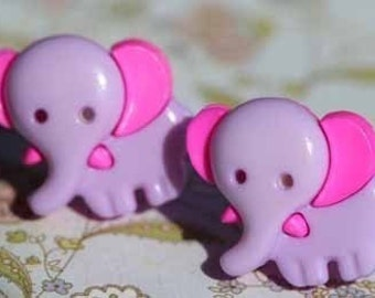 Pink and Lilac Elephants on Parade Stud Post Earrings