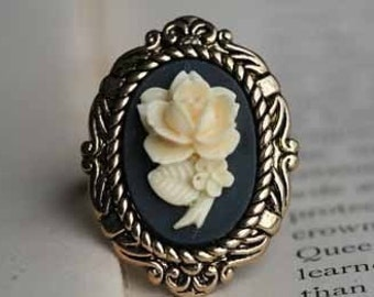 Ivory Rose Cameo Vintage Inspired Ring