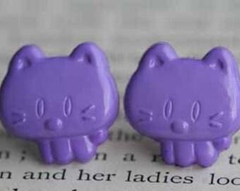 My Little VINTAGE Purple Kitty Stud Post Earrings
