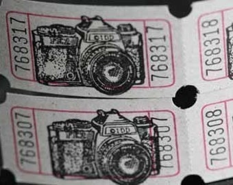 Vintage Style Hand Stamped Camera Carnival Tickets