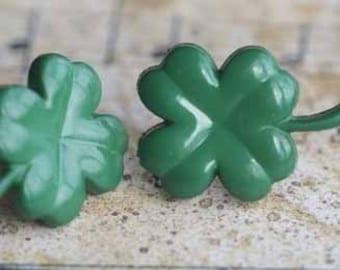 Lucky Four Leaf Clover Stud Post Earrings