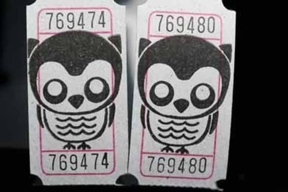 Vintage Style Hand Stamped Spooky Owl Carnival Tickets