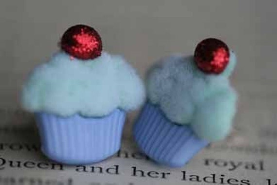 Mint Cupcakes With A Cherry on Top Stud Post Earrings