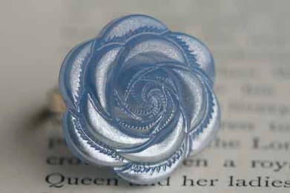 Winter Blue Rose Ring