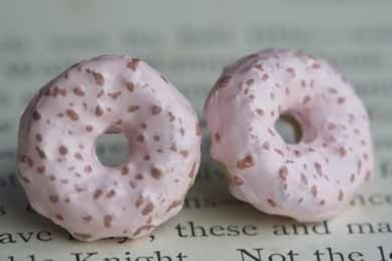 Strawberries And Creme Frosted Donuts Stud Post Earrings