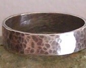 Sterling Silver Ring - Beautiful Oxidized and Hammered Band - Custom Order - Sizes 4 to 12