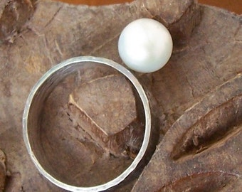 Sterling Silver Ring with Floating Pearl - made to order - size 4 to 12