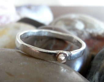 Little Gold Dot on a Thin Sterling Band - made to order - sizes 4 to 12