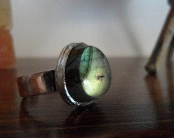 Coupon Code CLEARANCE40 - Labradorite and Sterling Silver Ring - Size 8 1/4 - One of a Kind