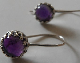 Metalsmithed Amethyst and Sterling Silver Earrings - Custom Order