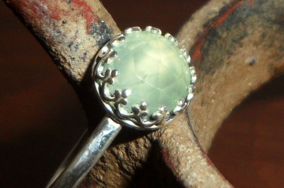 Metalsmithed Sterling Silver and Rose Cut Prehnite Ring - Custom Order size 4 to 12