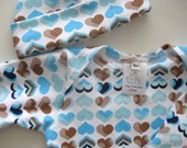 Baby Gown Hat Blue Hearts 0-3 months