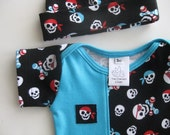 Baby Lap Tee Hat VC Blue Pirate Skulls 0-3 months