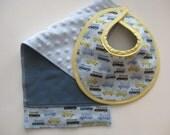 Baby Bib Burp Cloth Wheels on the Bus Baby Shower Gift