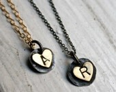 Custom Handmade Initial Heart Necklaces by Rachel Pfeffer - Listing for 1 Necklace