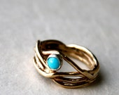 Handmade 14k Gold Nest ring with turquoise in sterling silver bezel
