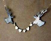 Sterling Silver Deer Heart Bunting Necklace by Rachel Pfeffer