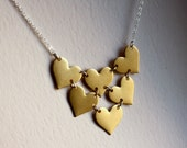 Handmade Heart Bib Necklace- Brass and Sterling Silver